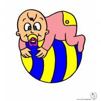 Disegno di Bambino sulla Palla a colori
