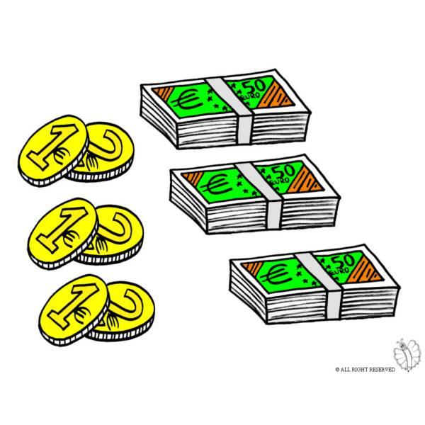 Disegno di Banconote e Monete a colori