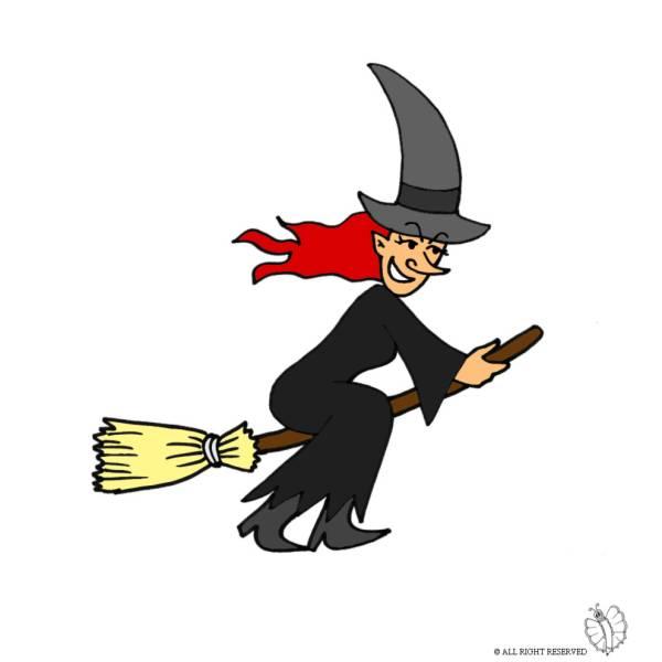 Disegno di strega sulla scopa a colori per bambini - Immagini fantasma a colori ...