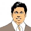 Disegno di Brad Pitt a colori