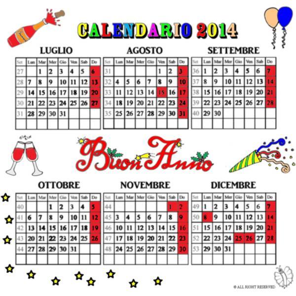 Calendario Anno 2014.Disegno Di Calendario 2014 Da Luglio A Dicembre A Colori Per