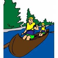 Disegno di Canoa sul Fiume a colori