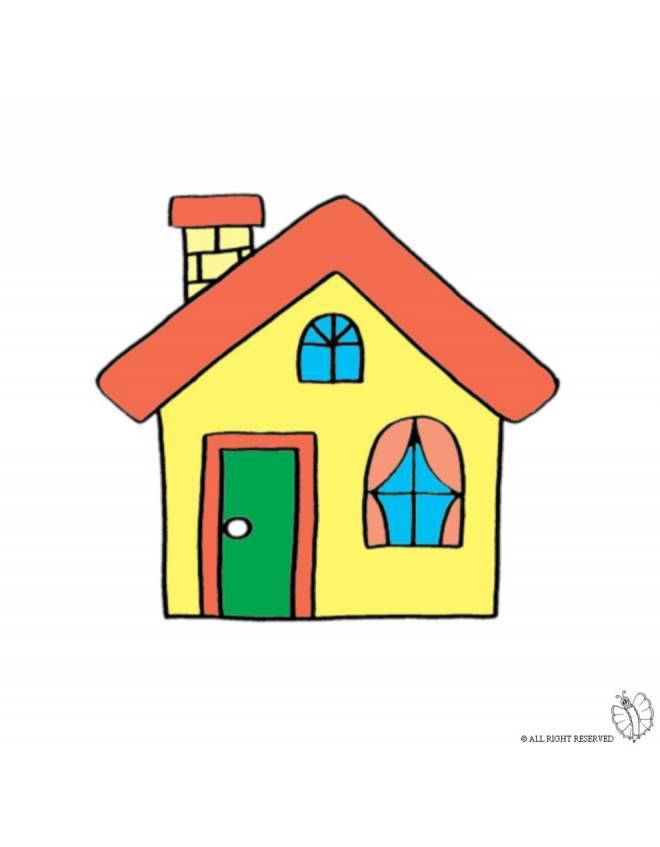 Stampa disegno di casa con camino a colori for Casa disegno