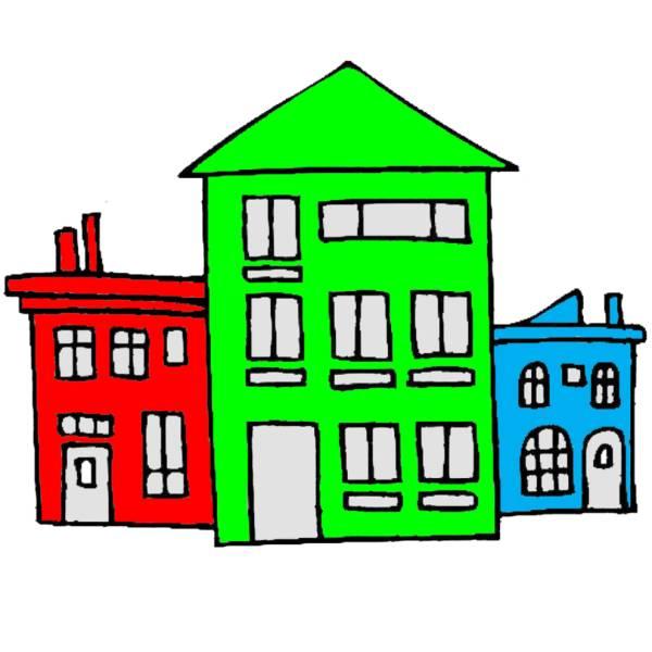 disegno di case a colori per bambini