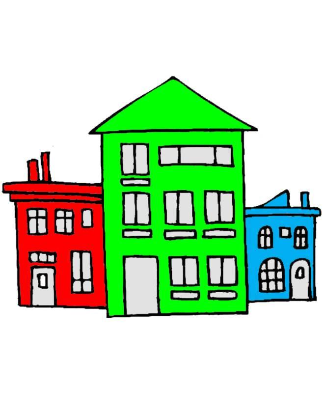 Stampa disegno di case a colori for Disegni di case di tronchi
