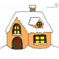 Disegno di Casetta Coperta di Neve a colori
