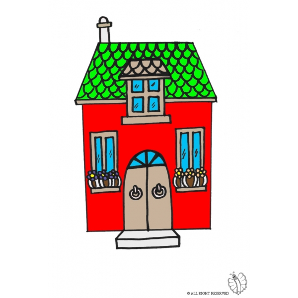 Disegno di casetta a colori per bambini for Disegni e prezzi della casa