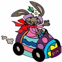 Disegno di Coniglio in Auto a colori