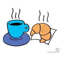Disegno di Cornetto e Caffè a colori