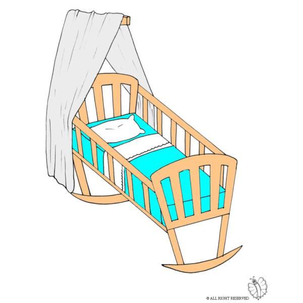 Disegno di culla a colori per bambini