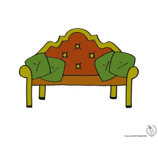 Disegno di divano antico a colori per bambini for Divano disegno