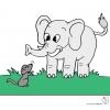 disegno di Elefante e Topolino a colori