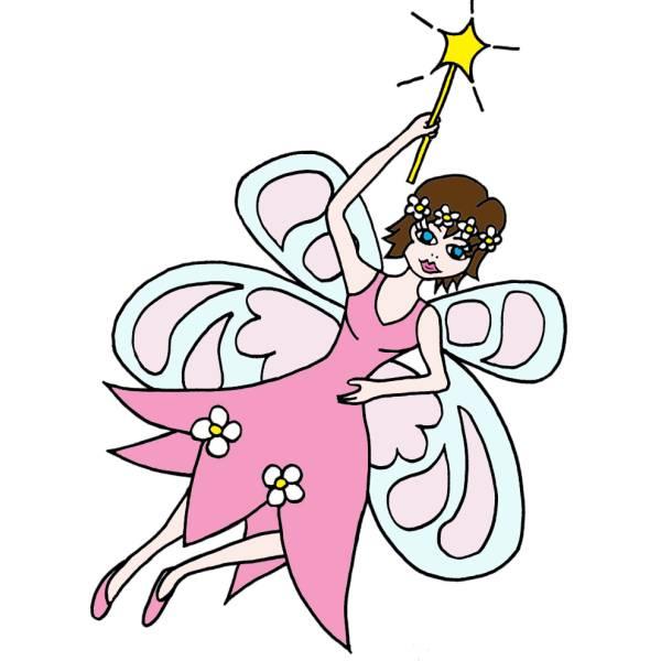 Disegno di Fatina con Bacchetta Magica a colori