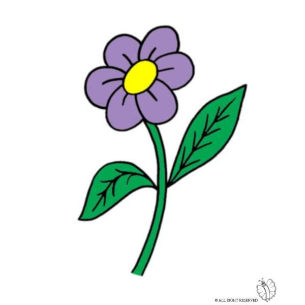 Disegno di fiore con foglie a colori per bambini for Fiori stilizzati colorati