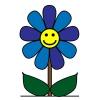 Disegno di Fiore con Sorriso a colori