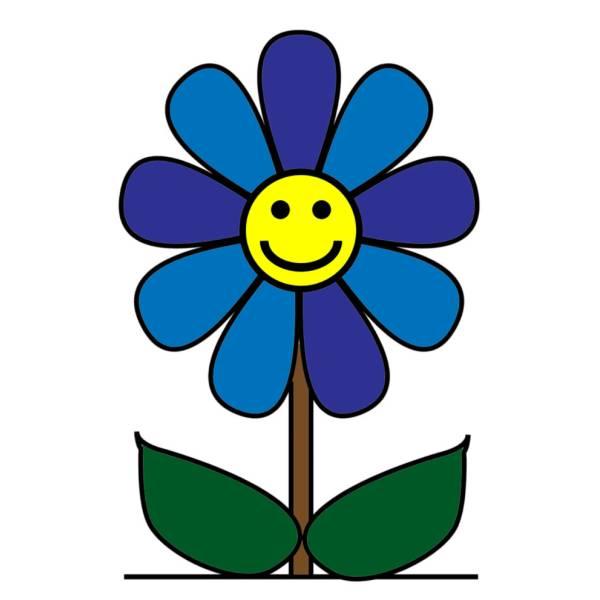 Disegno di fiore con sorriso a colori per bambini for Fiori stilizzati colorati