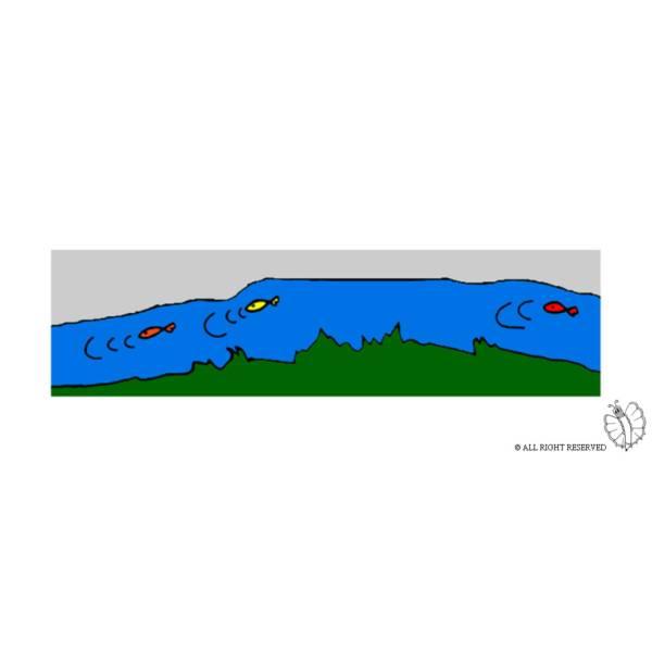 Disegno di Fiume con Pesci a colori