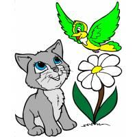 Disegno di Gattino e Uccellino a colori