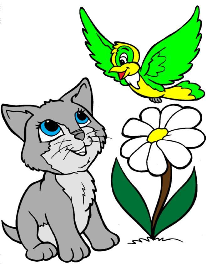 Stampa disegno di gattino e uccellino a colori for Uccellino disegno