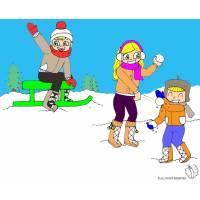 Disegno di Giocare con la Neve a colori