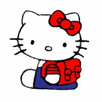 Disegno di Hello Kitty con Zainetto a colori