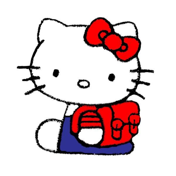 Disegno di hello kitty con zainetto a colori per bambini