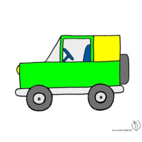 Disegno di jeep fuoristrada a colori per bambini for Jeep da colorare