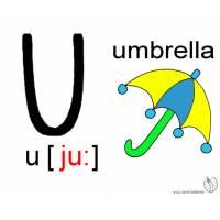 Disegno di Lettera U Alfabeto Inglese a colori