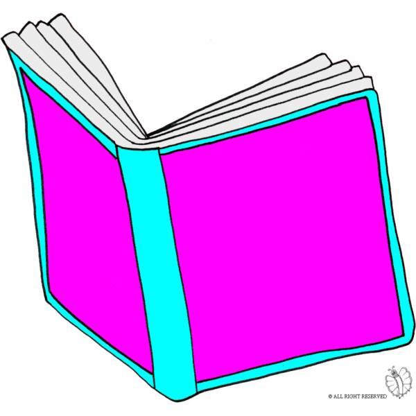 Disegno di libro aperto a colori per bambini - Libro da colorare elefante libro ...