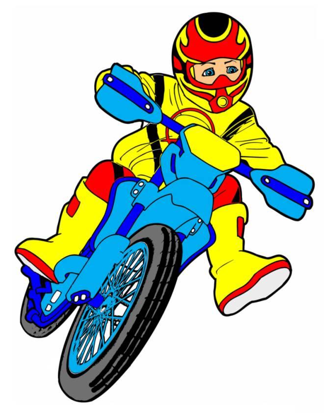 Disegno di motocross a colori per bambini