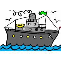 Disegno di Nave con Scialuppe a colori