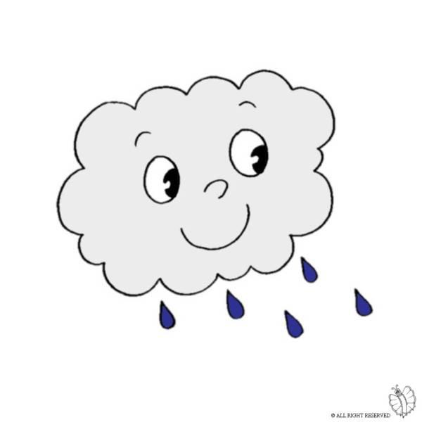 Disegno di Nuvola con Pioggia a colori