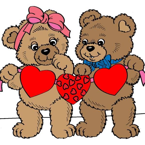 Disegno di orsacchiotti con cuori a colori per bambini for Disegni di cuori da stampare gratis