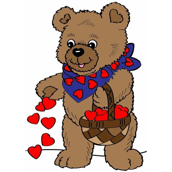 Disegno di orso con cuoricini a colori per bambini - San valentino orso da colorare pagine da colorare ...