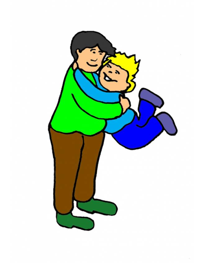 disegno di Padre e Figlio Abbracciati a colori