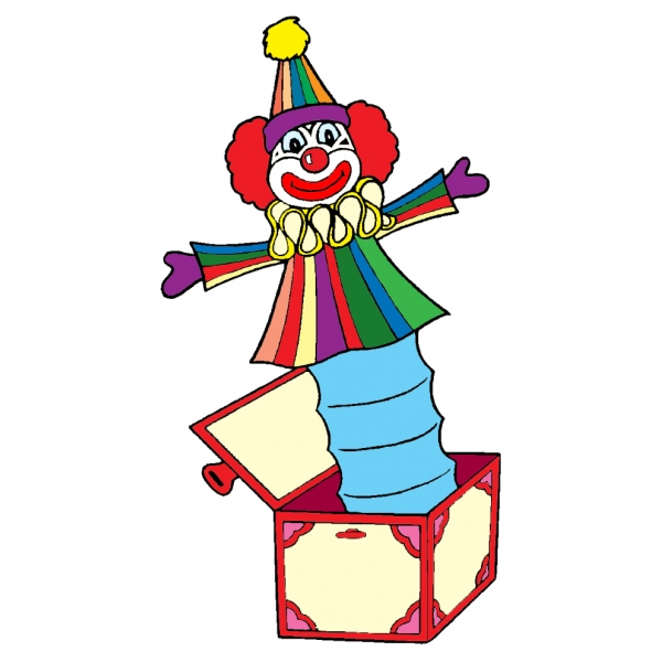 Disegno di pagliaccio nella scatola a colori per bambini for Disegno pagliaccio da colorare