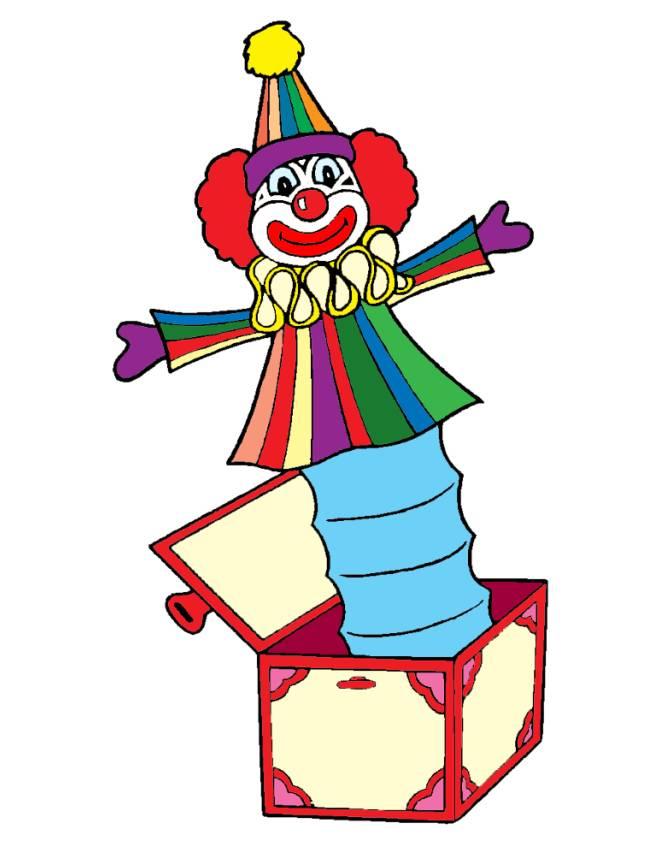 Disegno di pagliaccio nella scatola a colori per bambini for Immagini pagliaccio per bambini