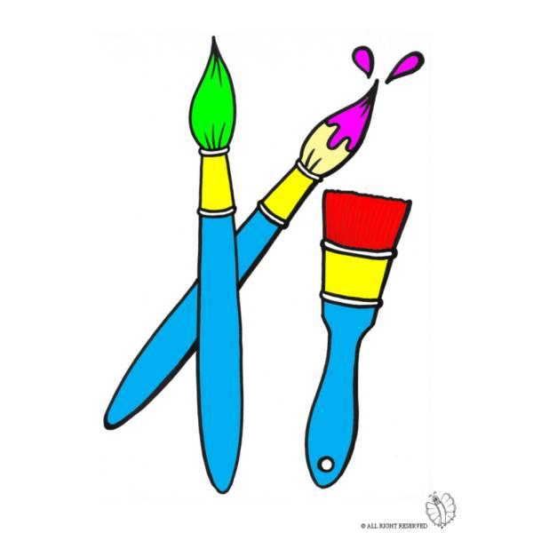 Disegno di pennelli e pennellessa a colori per bambini