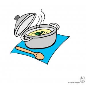 Disegno di pentola con minestra a colori per bambini for Cucinare per 300 persone