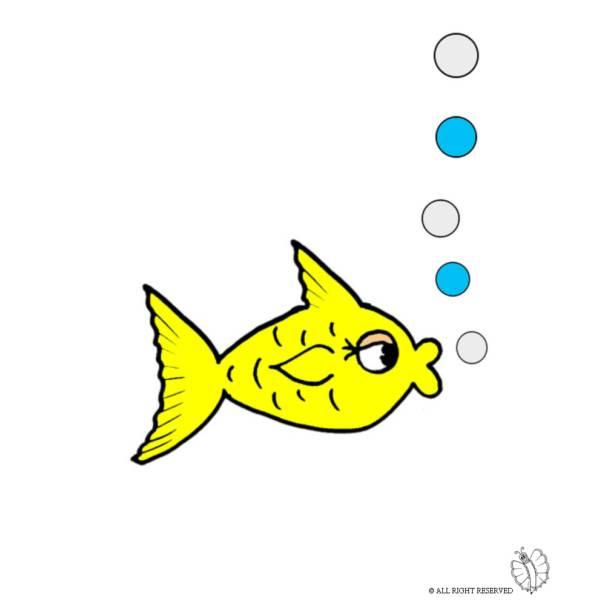Disegno di Pesce e Bollicine a colori
