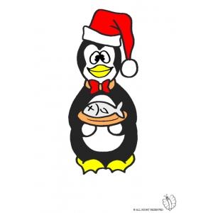 Disegno di pinguino con pesce a colori per bambini gratis for Disegno pinguino colorato