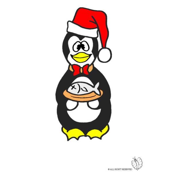 Disegno di pinguino con pesce a colori per bambini for Disegno pinguino colorato