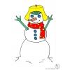 disegno di Pupazzo di Neve con Cappello a colori