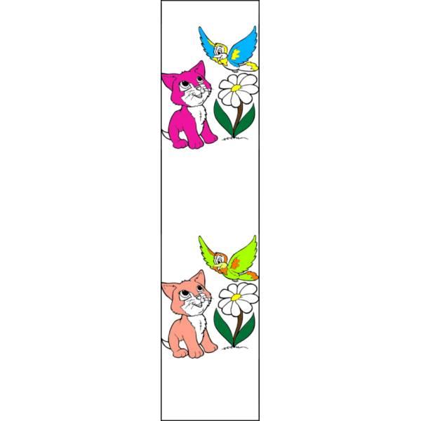 Disegno di Segnalibro Gattino e Uccellino a colori