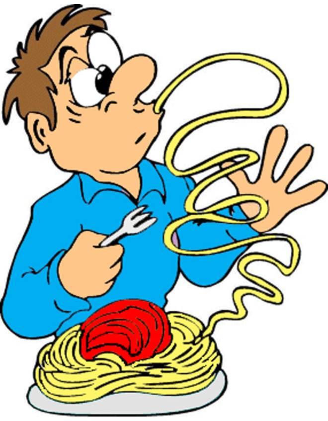 Disegno di spaghetti al pomodoro a colori per bambini