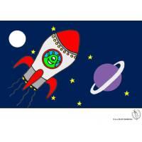 Disegno di Alieni nello Spazio a colori