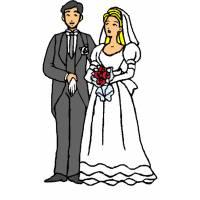Disegno di Sposi con Bouquet a colori