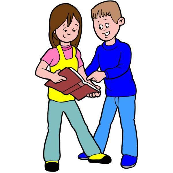 Disegno di studiare insieme a colori per bambini