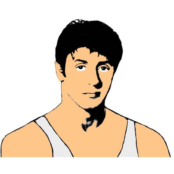 Disegno di Sylvester Stallone a colori