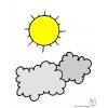Disegno di Sole e Nuvole a colori